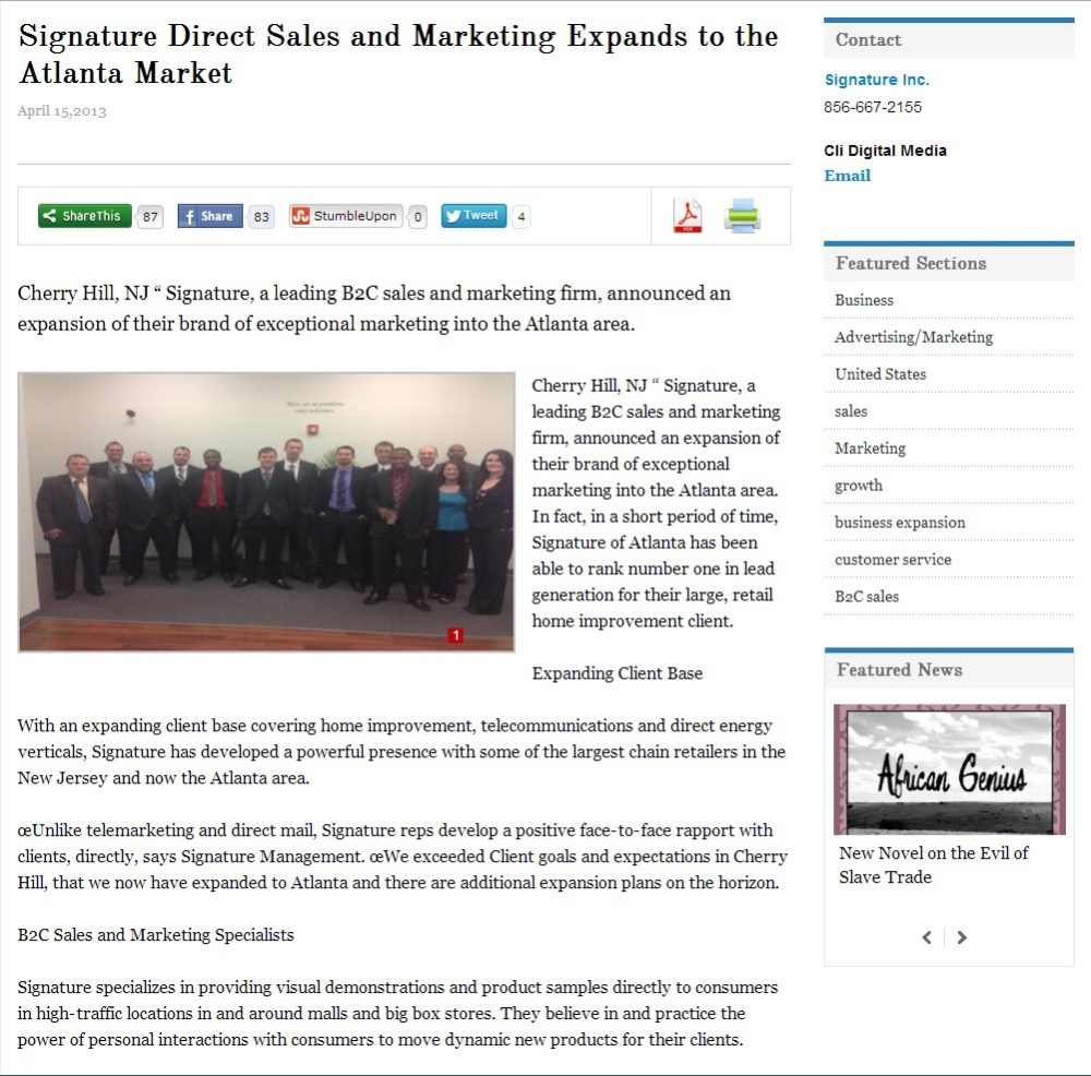 Press Release:  Signature Direct Sales and Marketing Expands to the Atlanta Market